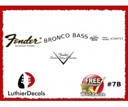 Fender Decal Bronco Bass Guitar Decal #7b