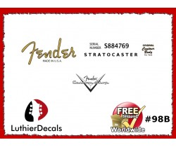 Fender Decal Stratocaster Guitar Decal #98b