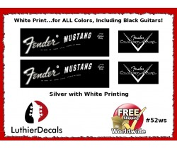 Fender Mustang Decal Guitar White Decal #52ws